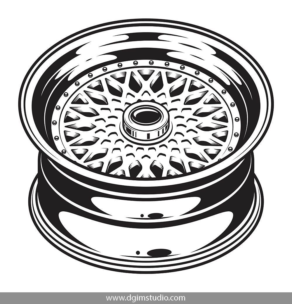 Vintage monochrome car wheel rim on white background