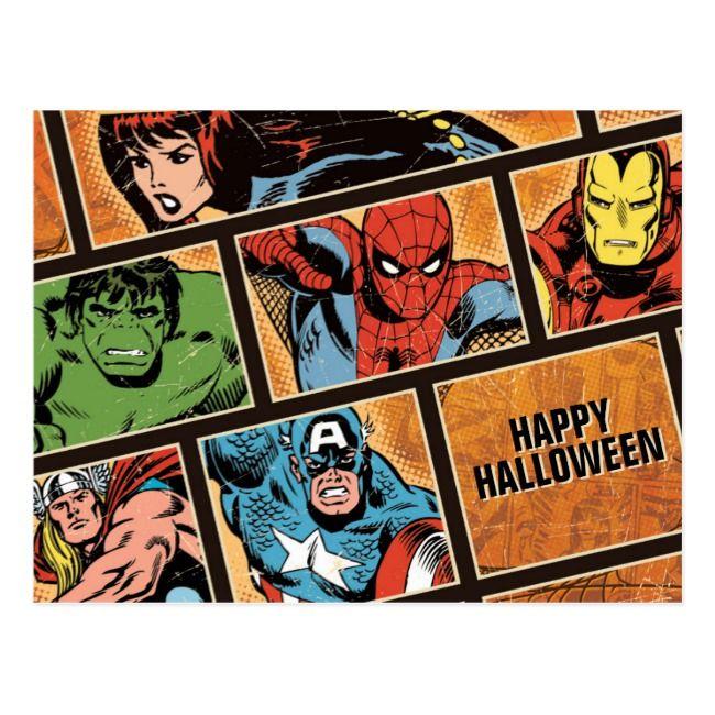 Classic Avengers Halloween Comic Panels Postcard #Ad , #SPONSORED, #Comic#Panels#Postcard#Halloween