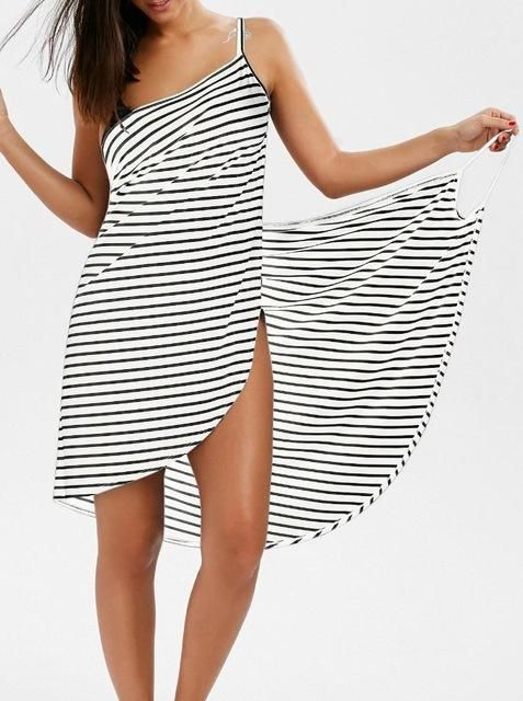 3e47c4718e5040 ... swimwear. free shipping offer in our store! buy now!!!Summer 2018  Backless Striped Dress V-neck Spaghetti Strap