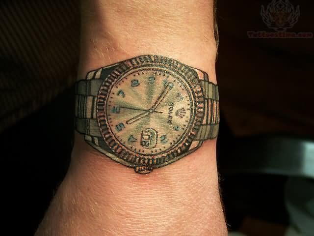 Awesome Watch Tattoo On Wrist Watch Tattoos Watch Tattoo Design
