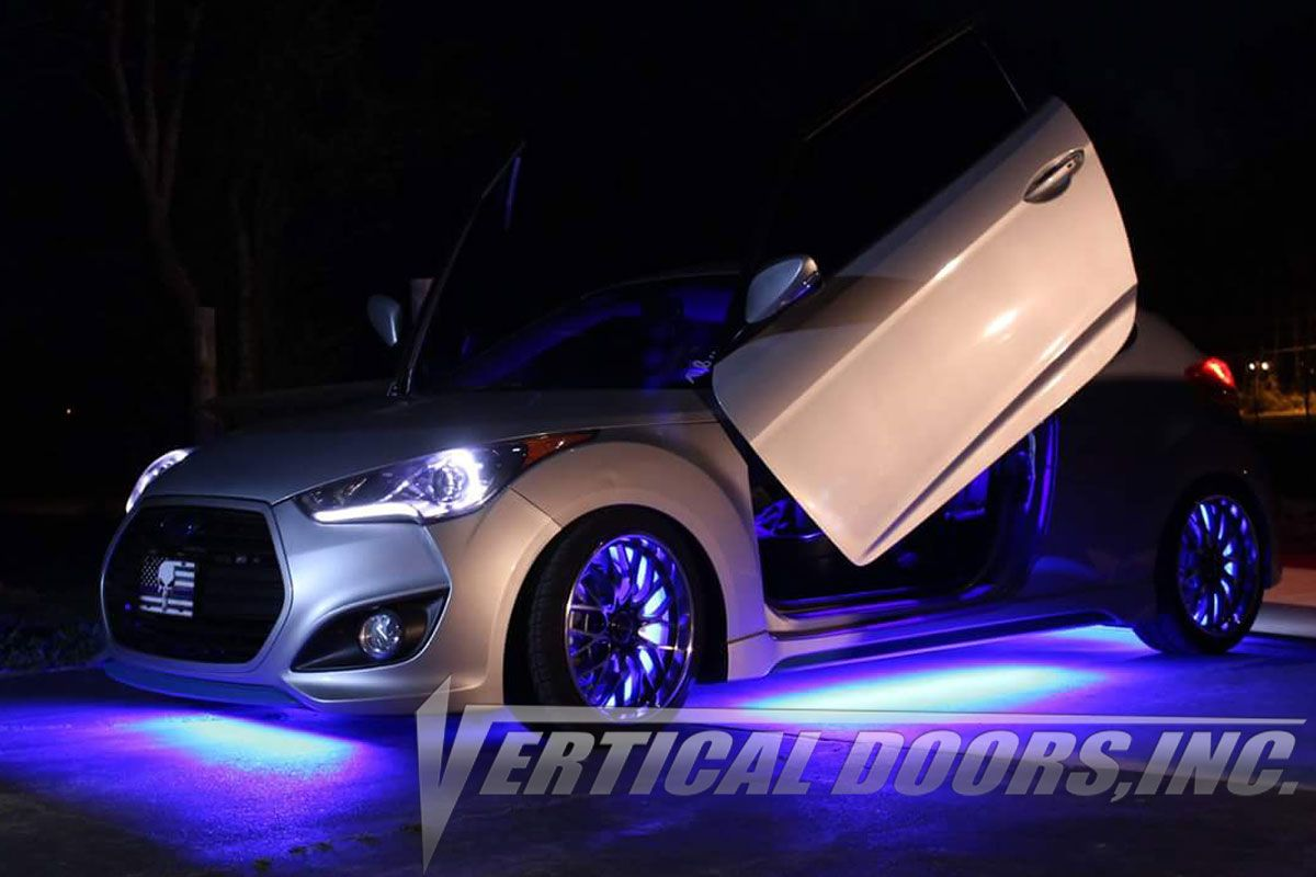 Check Out The Hyundai Veloster With The Lambo Doors Kit Installed By Vertical Doors Shared By One Of Our Vdi Cu Hyundai Veloster Veloster Turbo Vertical Doors