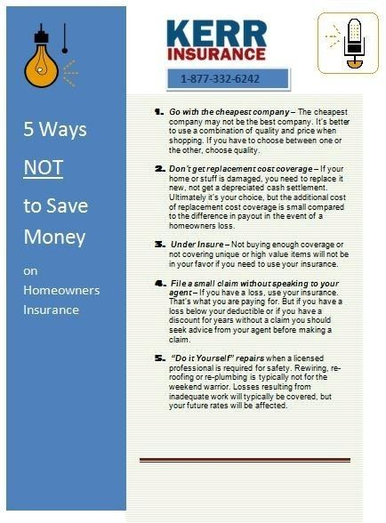 5 Ways Not To Save Money On Homeowners Insurance Homeowners