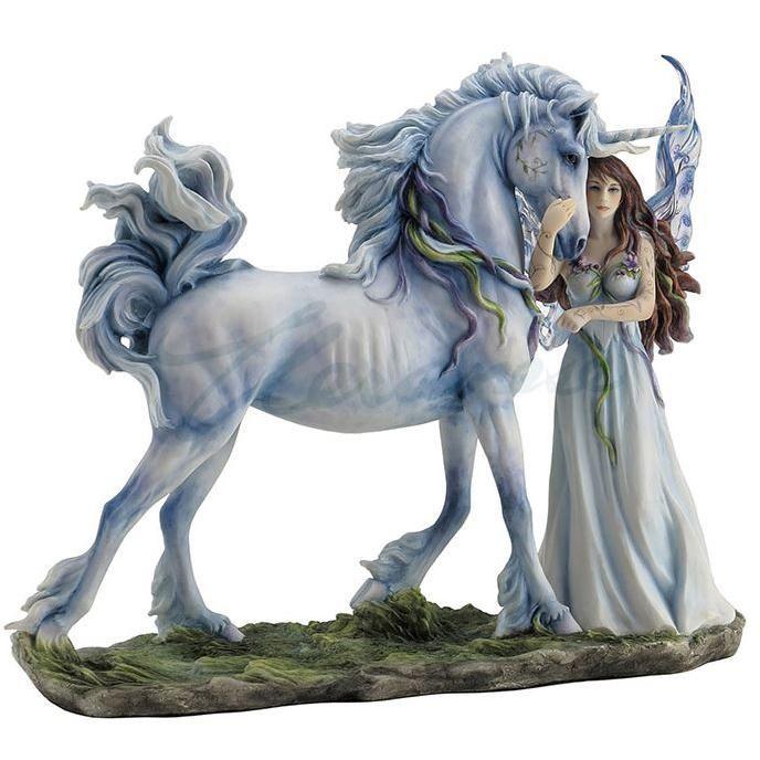 "Unicorn With Fairy Figurine ""Long Live Magic"" by Jody Bergsma 12.25""L"