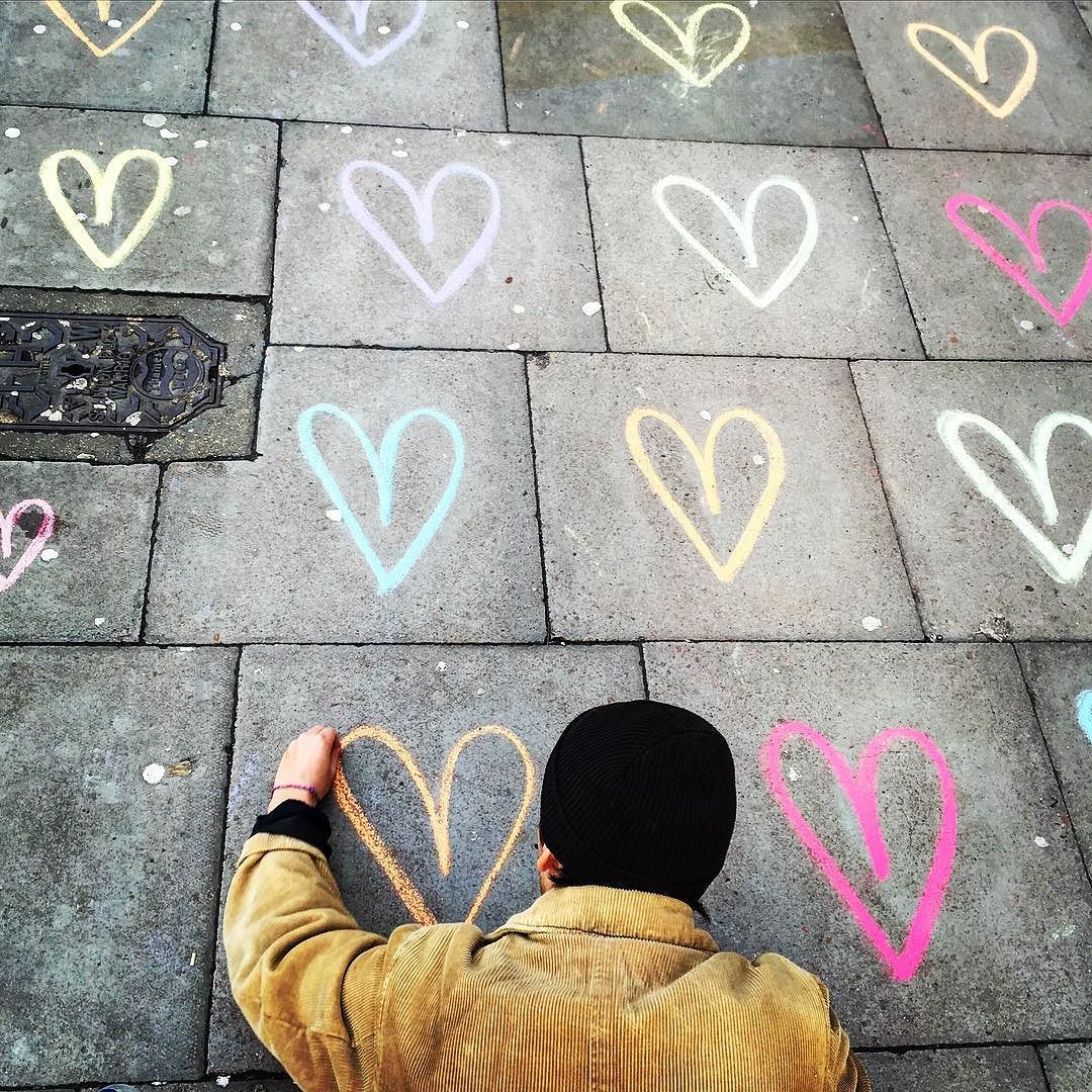 All you need is some chalk some love  a pavement - THEO of #LoveTrailEarth  by richfoto