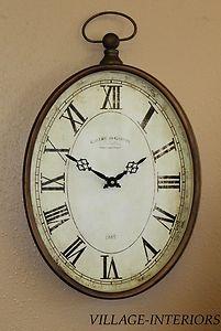 Gallerie De Gaston Vintage Metal Pocket Watch Large Wall Clock Tuscan Old World Clock Decor Vintage Wall Clock Large Wall Clock