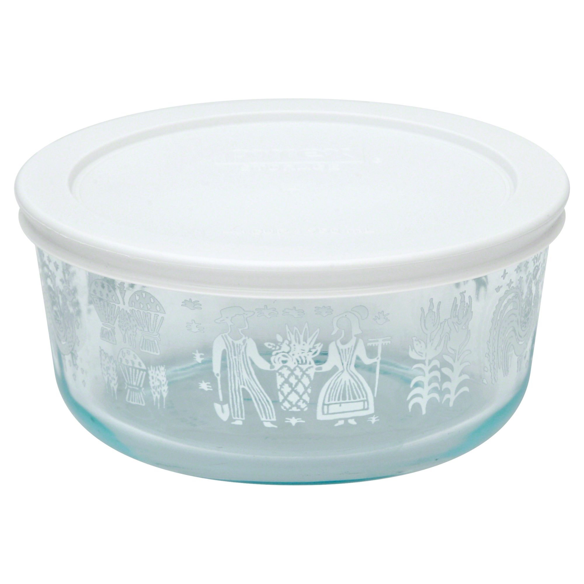 Pyrex Simply Store 4-Cup Glass Food Stroage Set, Classic Print ...