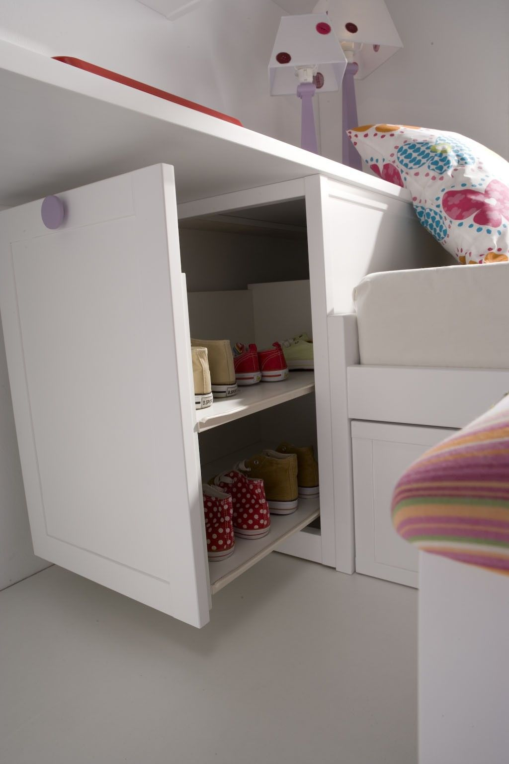 Dormitorio juvenil cama nido con m dulo zapatero haya for Muebles habitacion infantil nina