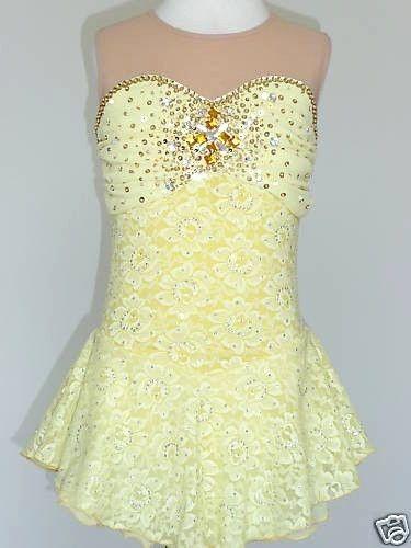 46fba576cd Sleepless lemon lace skating dress with sweetheart neckline with powernet  yoke