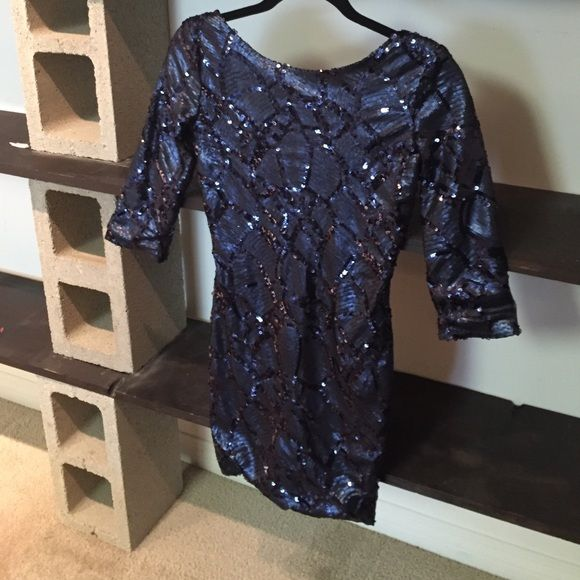 Cobalt Blue Sequin Dress Foreign Exchange Size Small Party