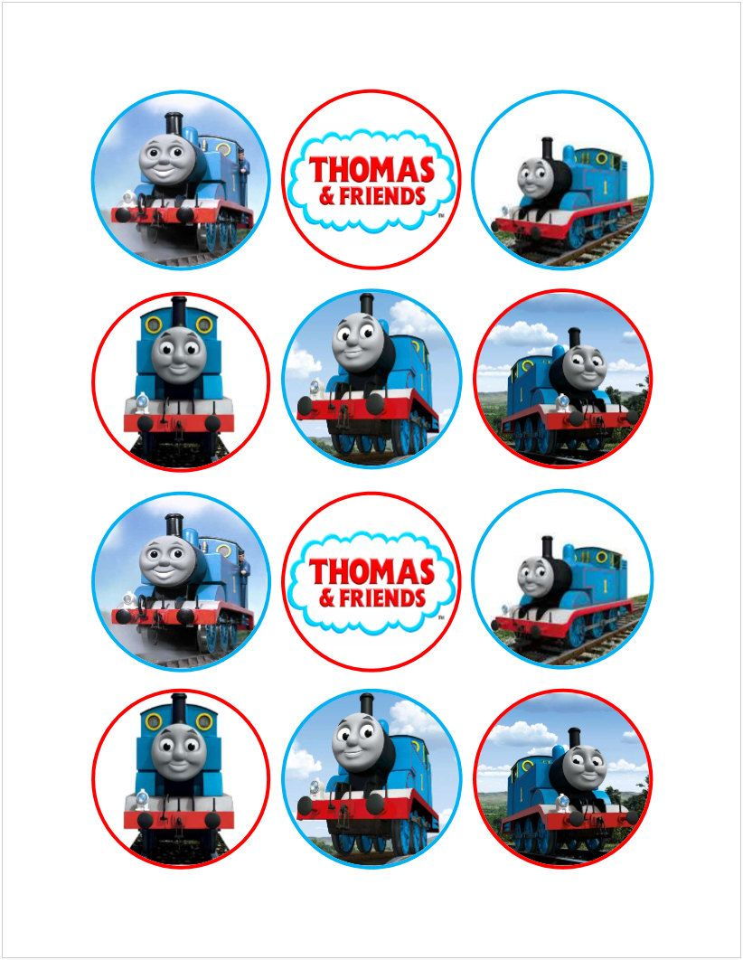This is a picture of Dramatic Free Printable Thomas the Train Cup Cake Toppers