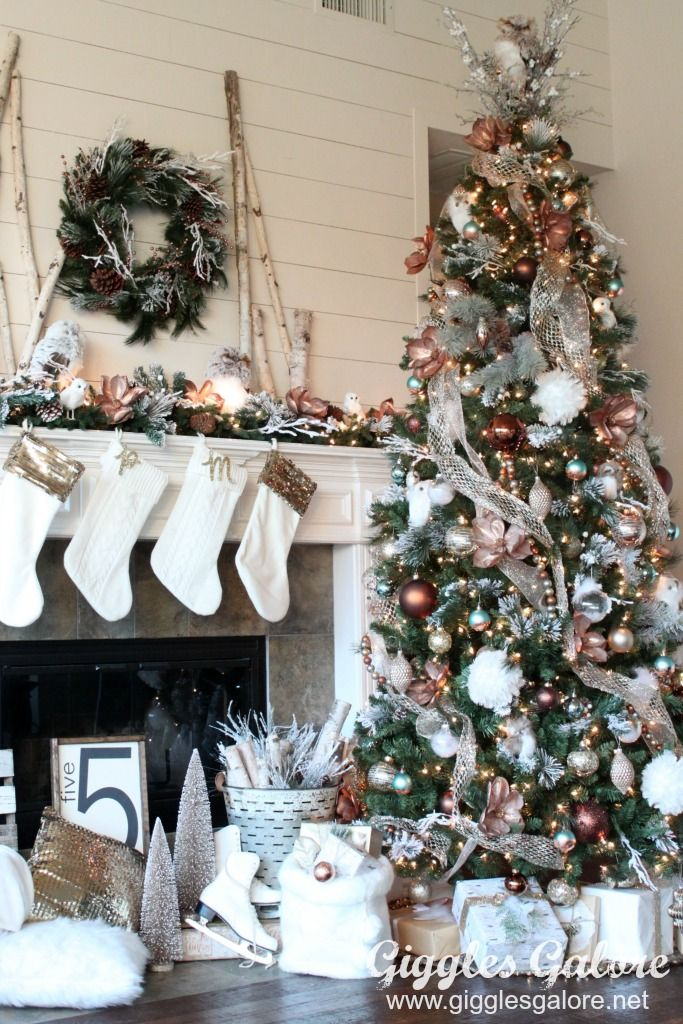 Glam Metallic Farmhouse Christmas Tree Christmas Tree Themes Christmas Tree Design Farmhouse Christmas Tree