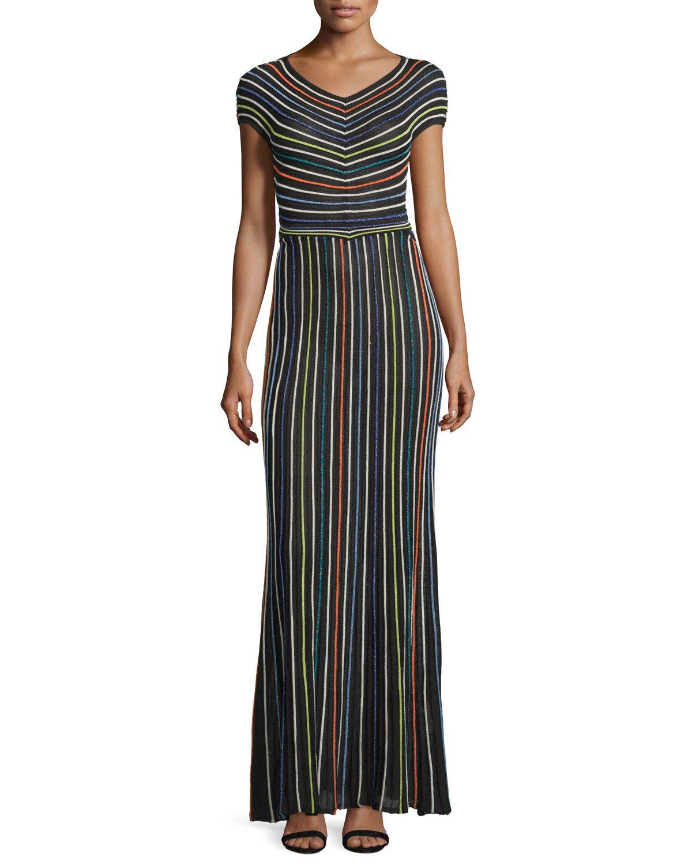 5b7d6050406d Short-Sleeve Micro-Striped Maxi Dress