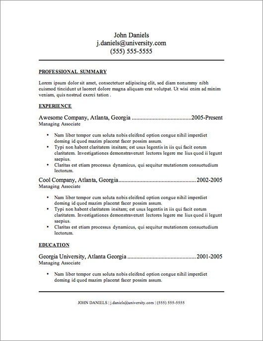 FreeResumeTemplate  Job Hunt    Template And Free