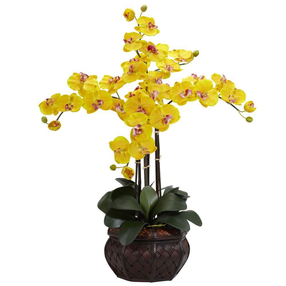 yellow flower pots home depot