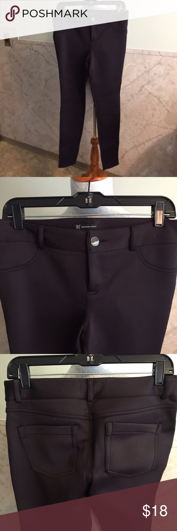 """INC Skinny Black Pants 10 These feel so smooth and soft. They are nylon and spandex. They have a basic button and zipper closure. The front pockets are faux and back are real. Inseam is 31"""". INC International Concepts Pants Skinny"""