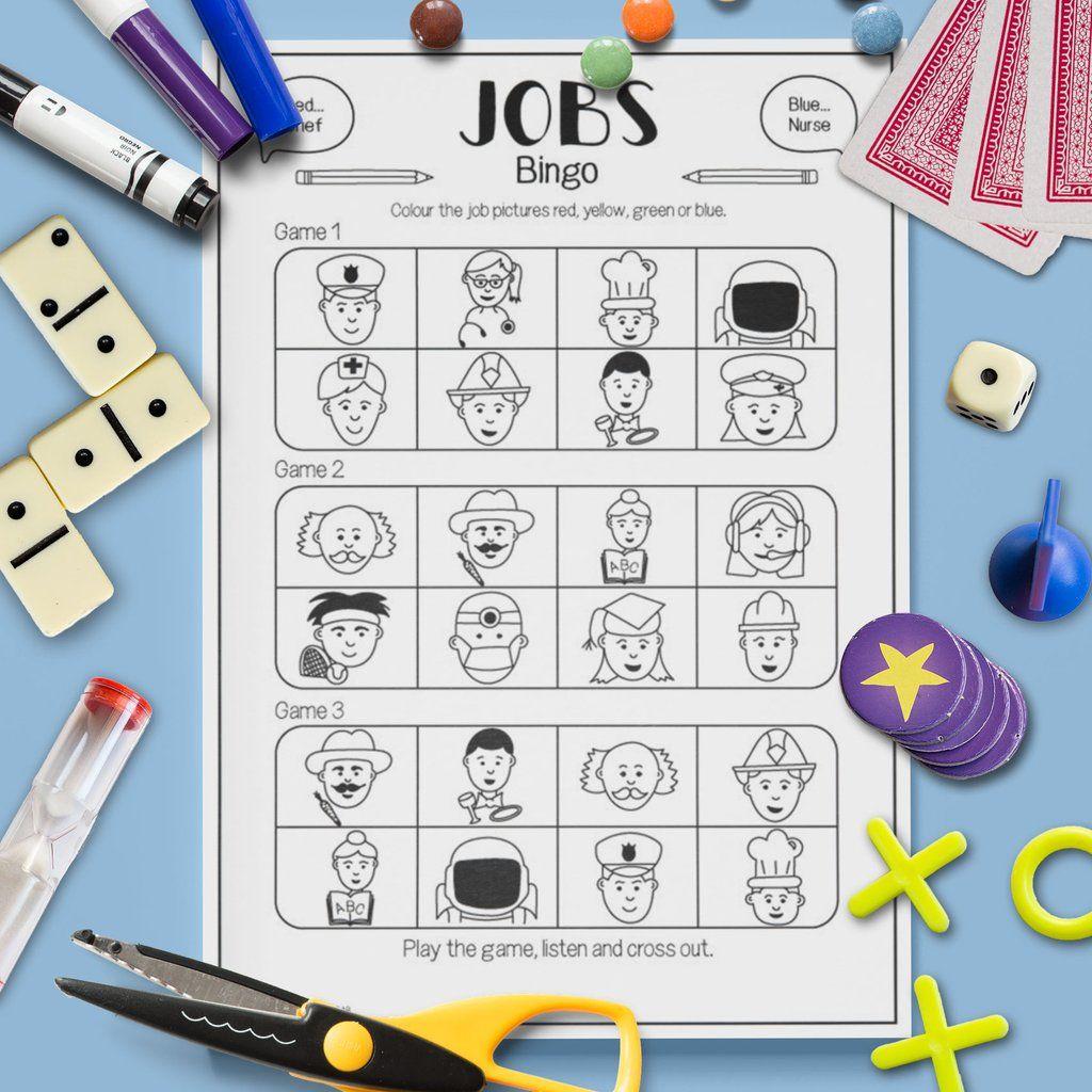 Jobs Bingo Game Gru Languages Bingo Games Teaching Game Bingo