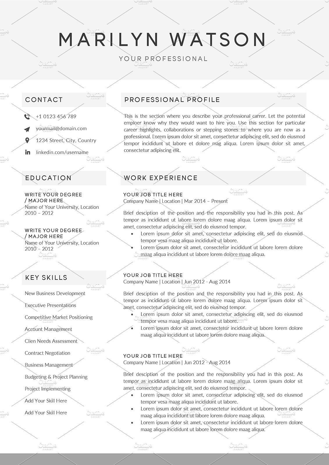 Resume Cv Mw Resume Cv Microsoft Word 2007 Word 2007