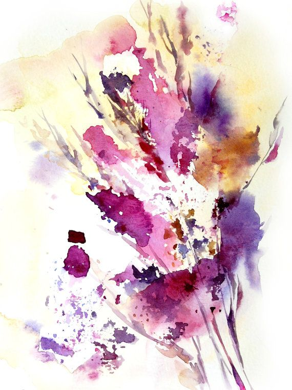 Abstract Leaves Watercolor Painting Art Print Abstract Modern