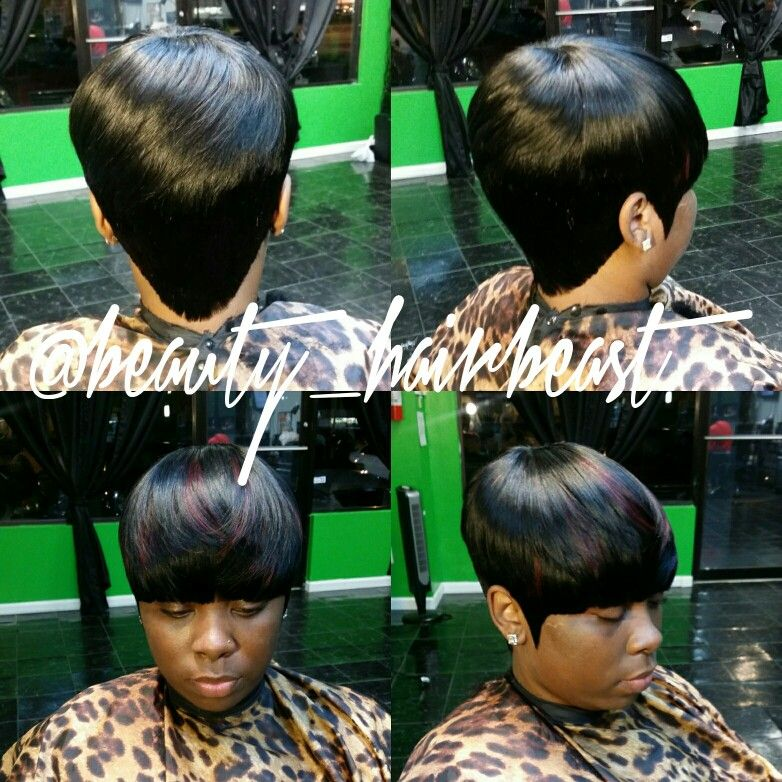 Short Hair With Bangs 27 Piece Quickweaves In 2019 Short