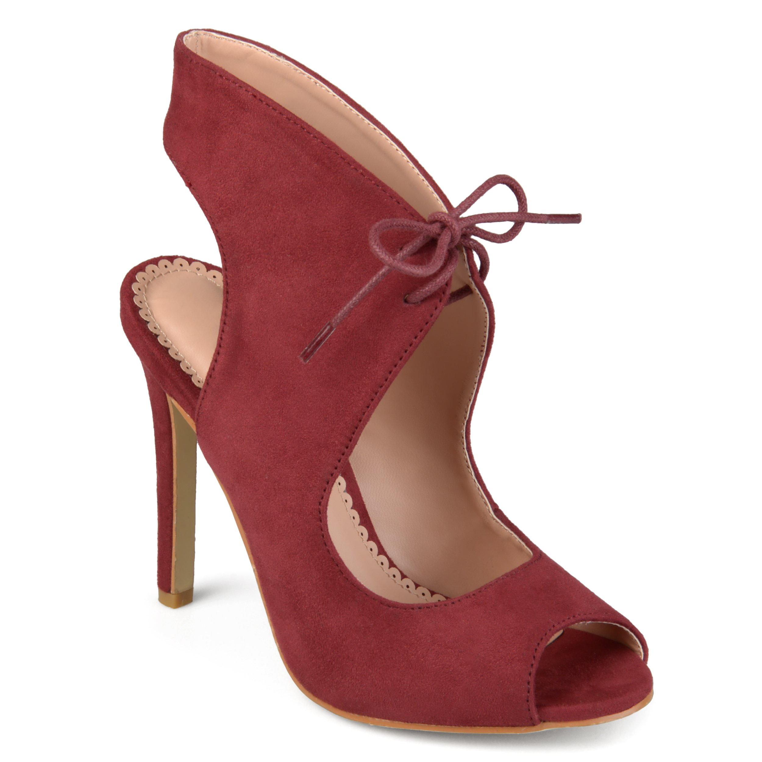 b05e24545fc5 Step into bold style with the peep-toe stiletto heel by Journee Collection.  These shoes feature soft faux suede uppers that rise above the ankles and  ...