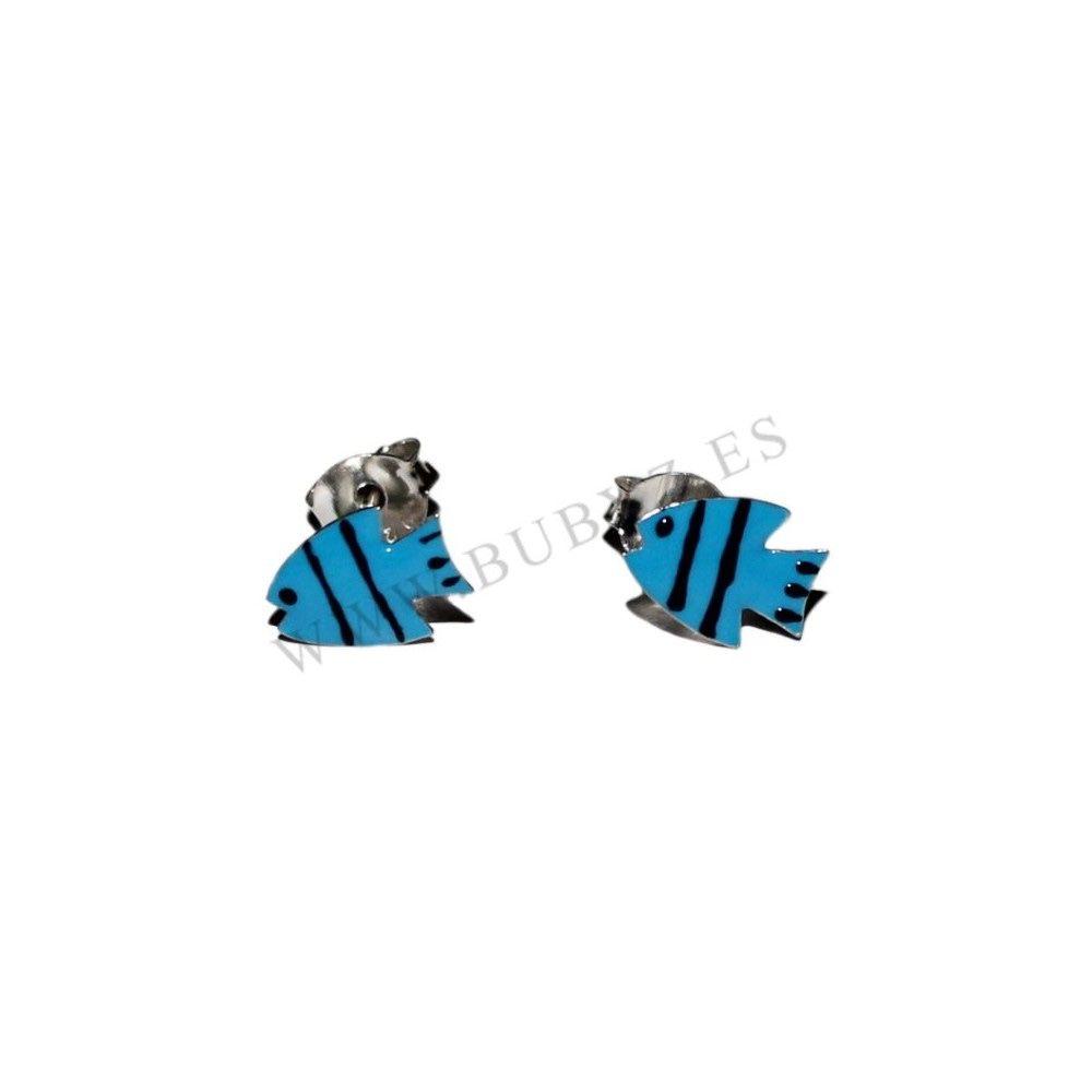 Color Azul Pendientes de Plata de Ley Esmaltada Pequeño Pez 8 x 6 mm