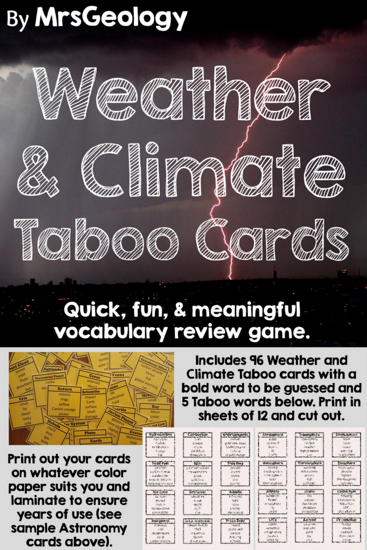 Weather and Climate Taboo Cards (Vocabulary Game