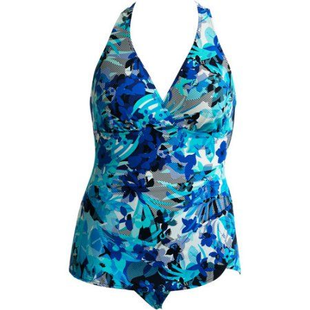 White Stag - Women's Plus-Size Floral Sarong Swimsuit, Blue