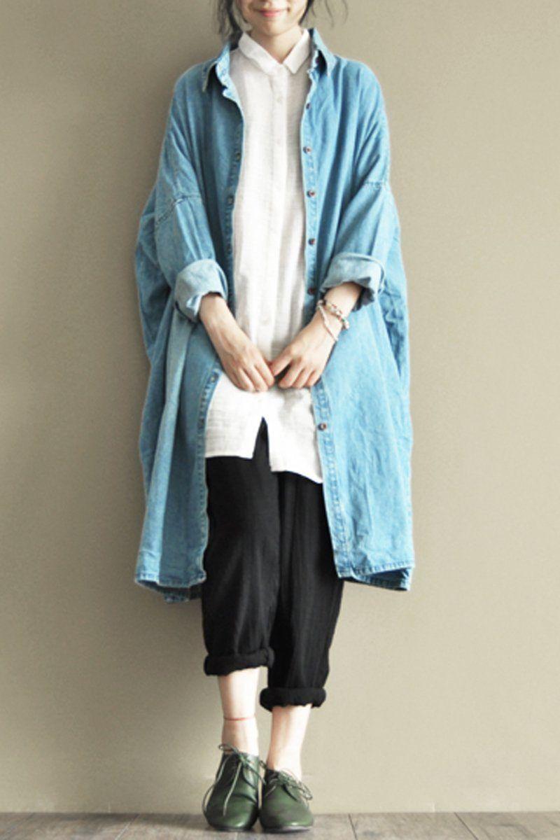 27a46ec48e Blue Denim Boyfriend Long Shirt Women Tops LR500 – FantasyLinen ...