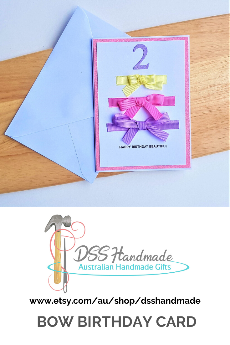 Bow Birthday Card Girl Birthday Cards Birthday Cards Card Sleeve