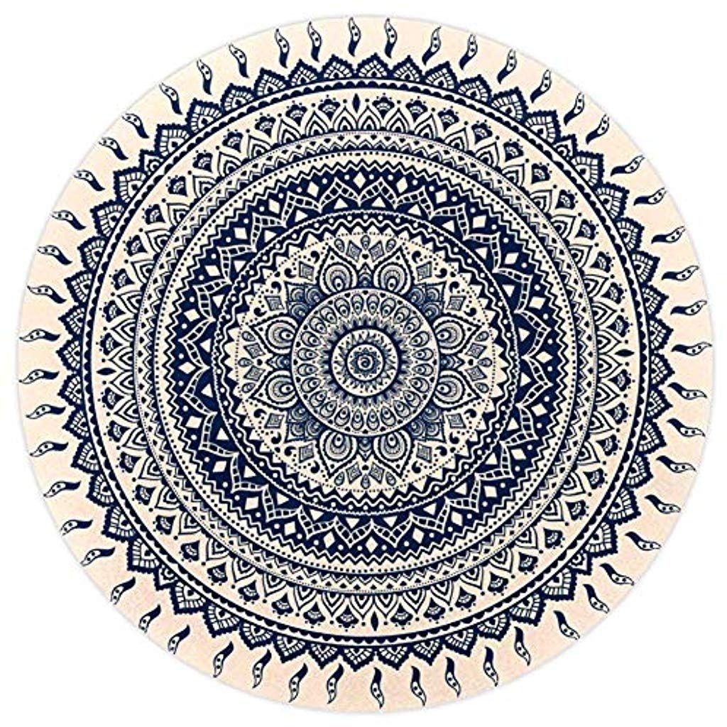 Tizorax Hippie Mandala Teppich Rund Superweich Fur Wohnzimmer