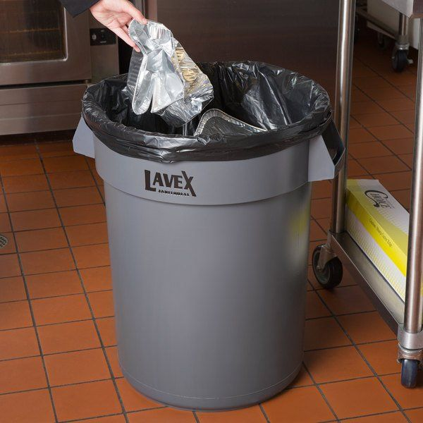 The Lavex janitorial 32 gallon gray round commercial trash can is the ideal solution for trash collection in your establishment. Capable of holding up to 32 gallons, this trash can is great for schools, offices, and restaurants. It is made of a durable resin material that holds up well to the wear and tear of being in a commercial environment. Its strong reinforced handles make for easy lifting and moving from one place to another, without fear of breaking or warping.   Aside from using this as
