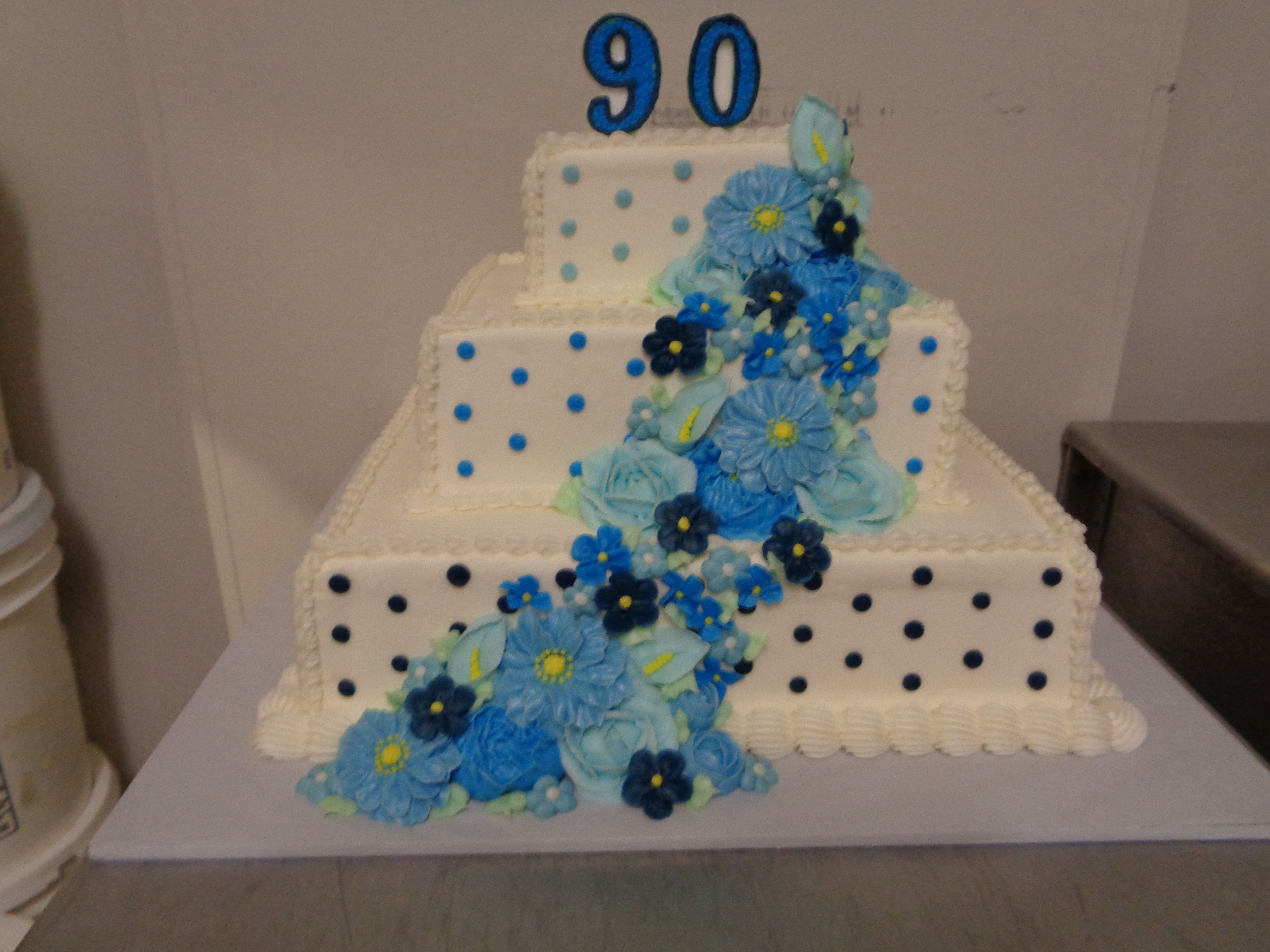 Decorated Birthday Cake With Blue Flowers Westhampton Pastry Shop