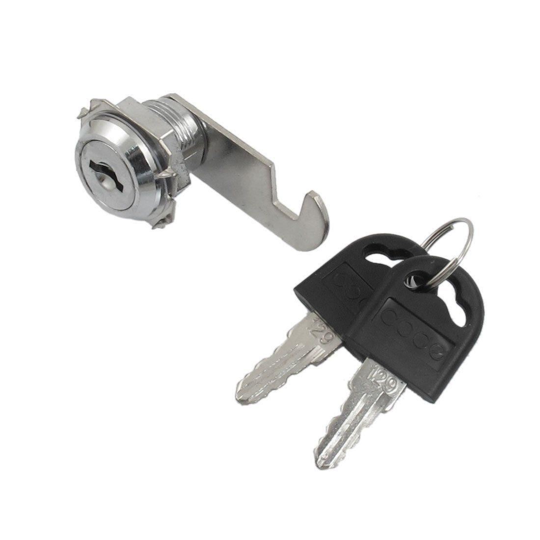 Uxcell Desk Tool Quarter Turn Keys Cam Lock 19mm Thread Desk Cabinet Tool Box 2 Keys