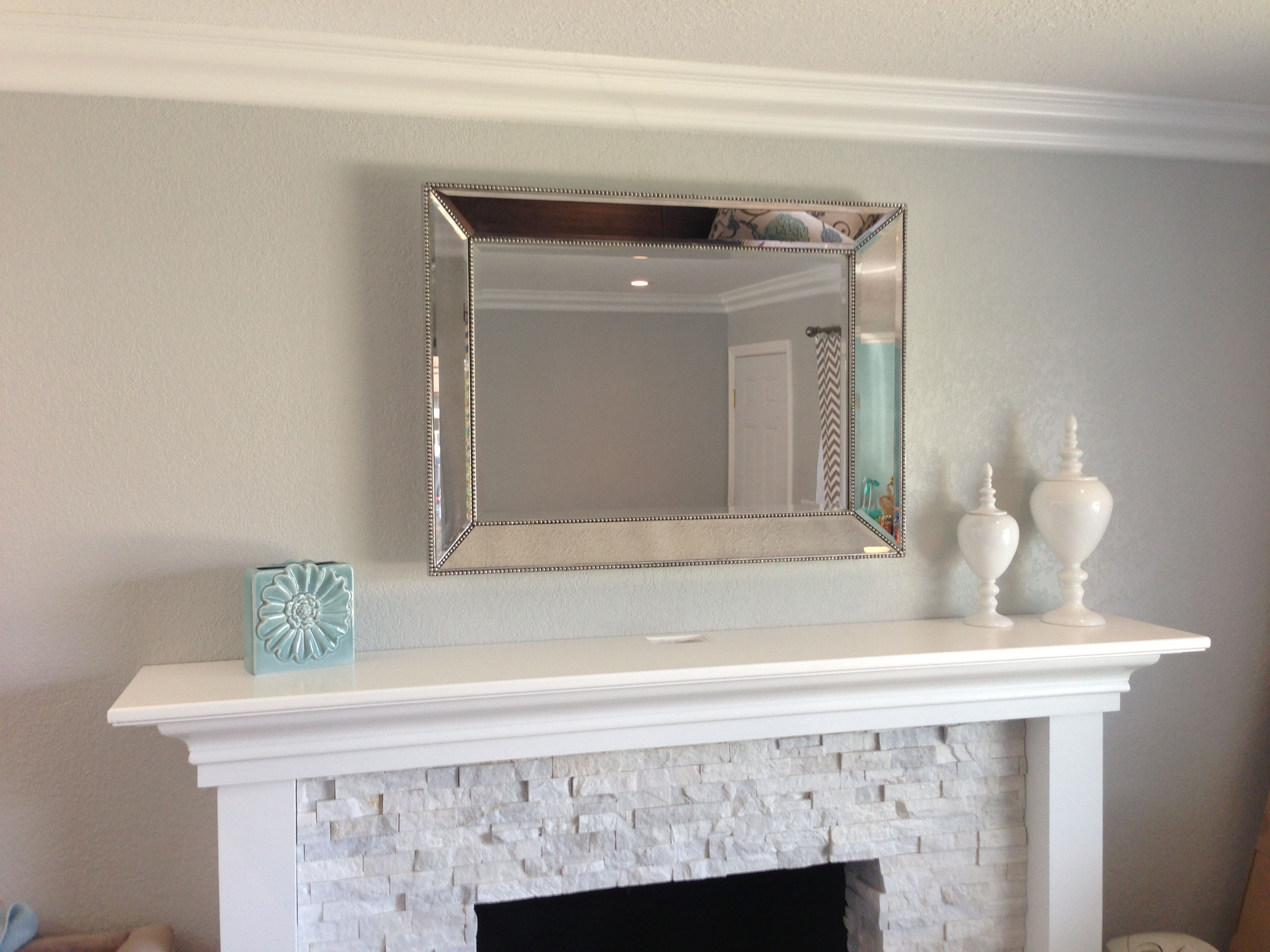 Fireplace mantel and mirror stacked quartz rick and custom mantle