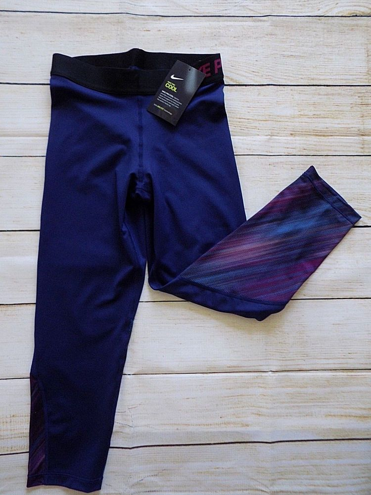 01a0fdda7ad Nike Womens S XS Pro Cool Light Streak Print Training Capri Navy Blue  865954 429 #Nike #AthleticLeggings