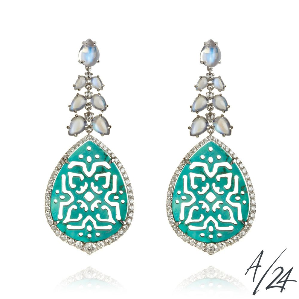 Arabesque Lace Turquoise Earrings -Buy online at Annoushka Jewellery