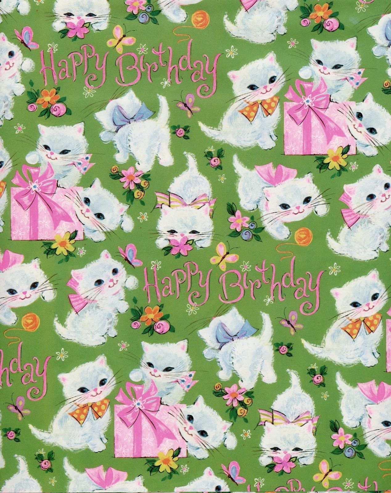 VINTAGE 60s Kitty Cat W Pink Presents BIRTHDAY Gift Wrap Wrapping Paper NOS