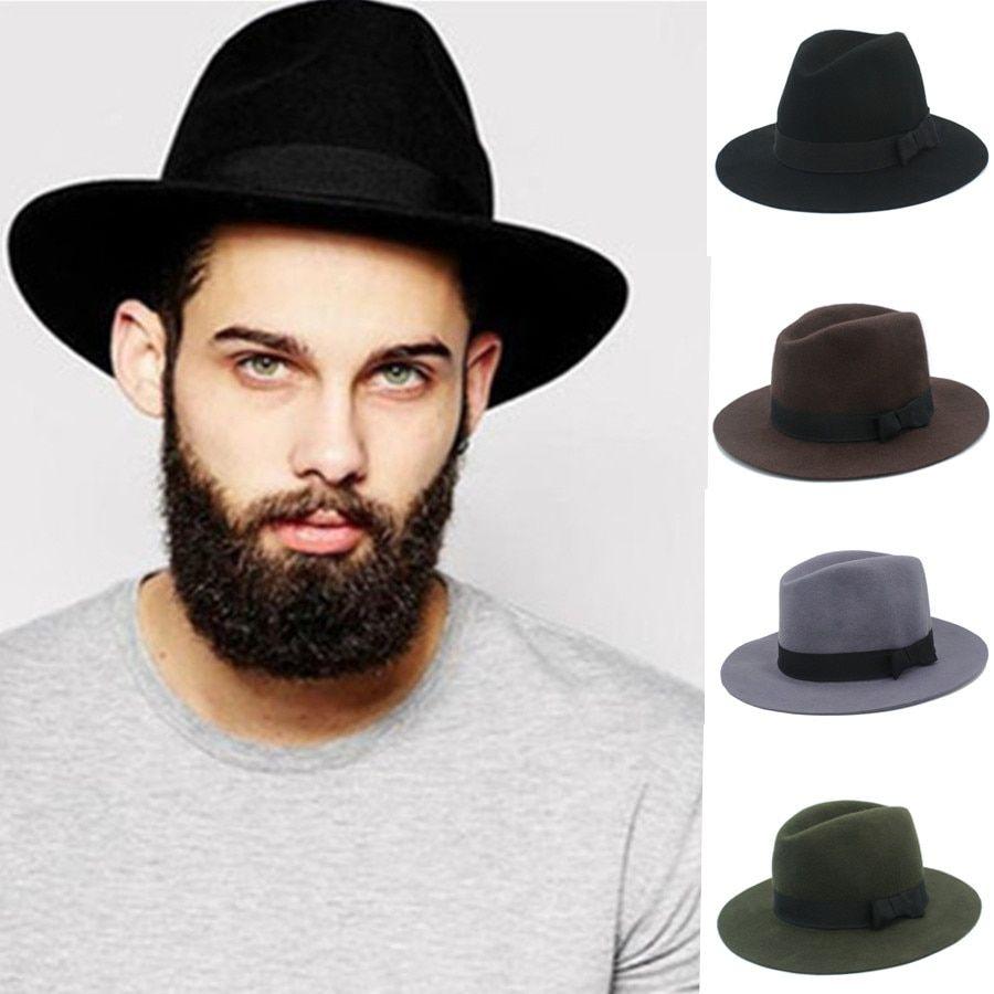 92f56360c 100% Australia Wool Men Floppy Felt Trilby Felt Fedora Hat For ...