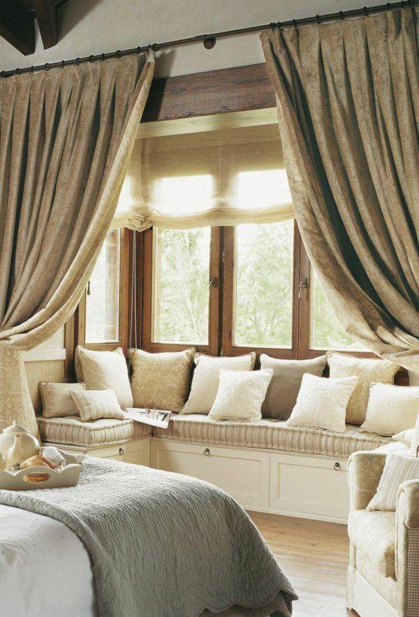 interior design schlafzimmer gardinen als trennwand sitzecke am - gardinen schlafzimmer gestalten