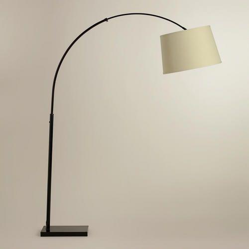 World Market Arch Floor Lamp With Grey Burlap Shade Arc Floor Lamps Curved Arm Floor Lamp