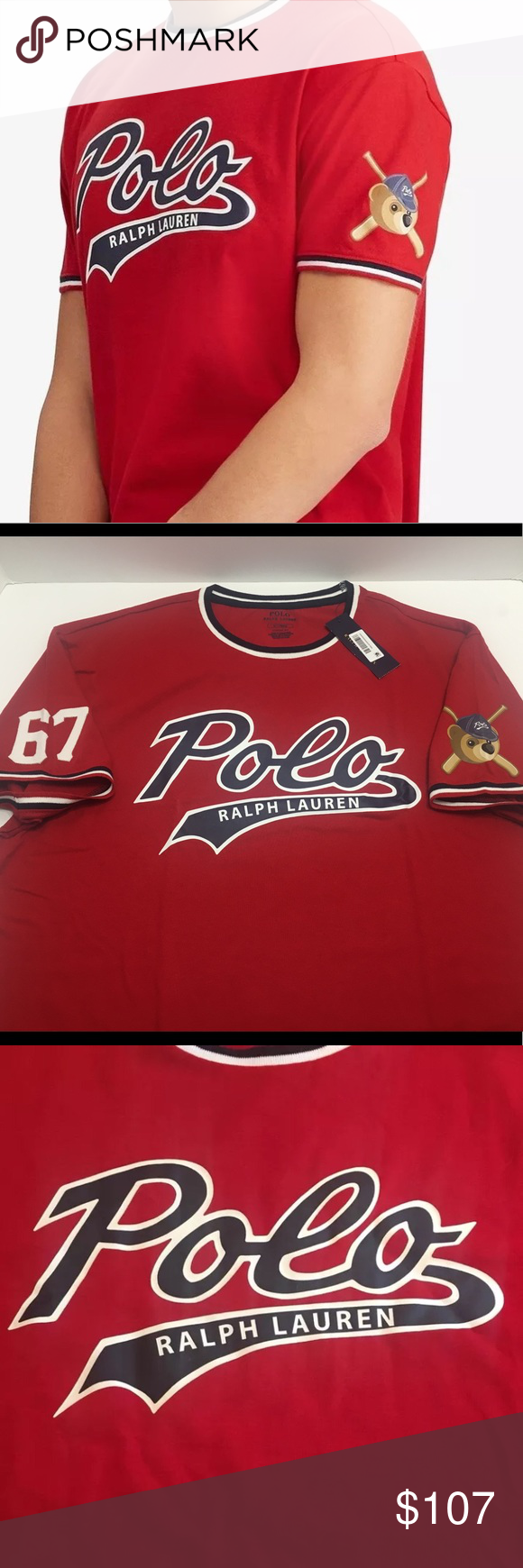 Polo Bear Ralph Lauren Bears Baseball Jersey Red Polo Bear Ralph Lauren  Bears Baseball Jersey T Shirt Classic Fit Red Size Medium Polo by Ralph  Lauren ... 84fc2cac00e24