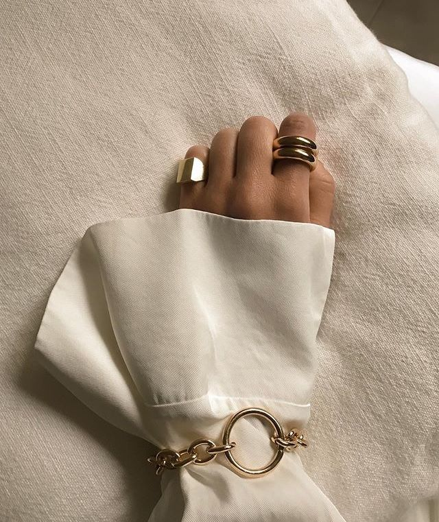 Gold bracelet and rings