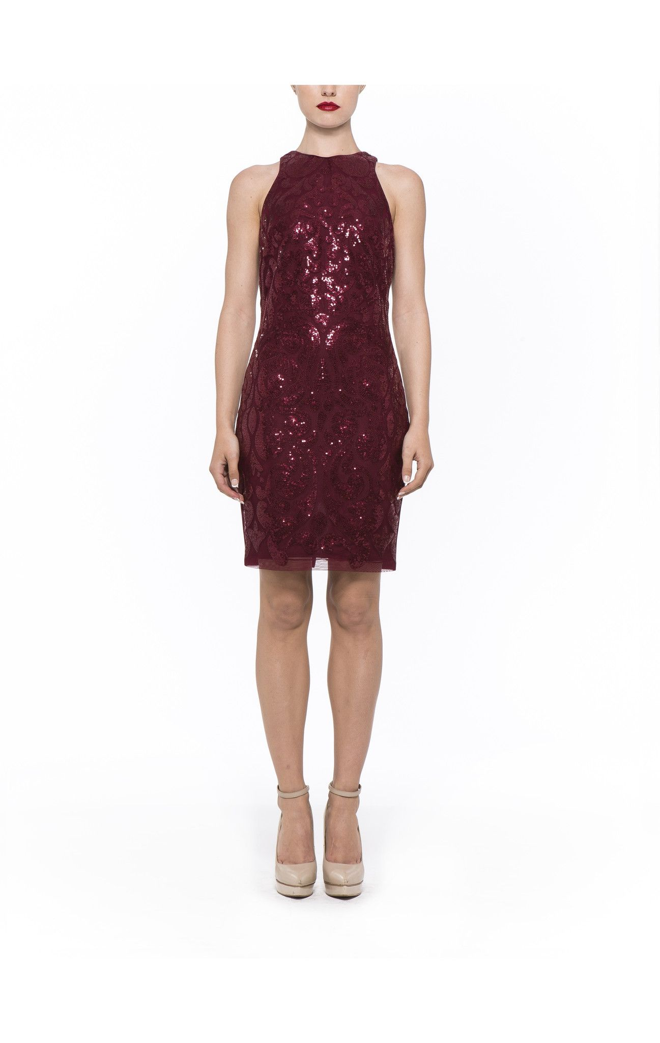 D1968 - Burgundy Embroidered Lace Ponte Sheath Combo Dress