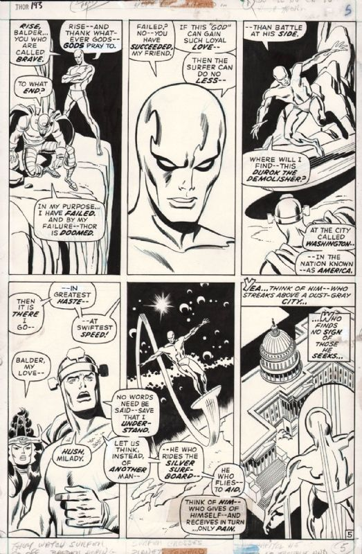 THOR #193 PAGE 5 SILVER SURFER PAGE ( 1971, JOHN and SAL BUSCEMA )  Comic Art