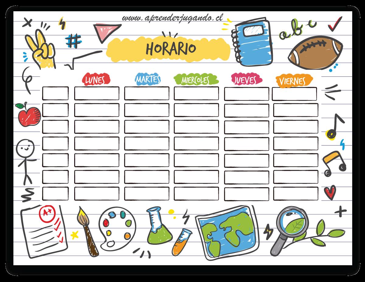 Aprender Jugando Comparte Estos Divertidos Calendarios Para Adornar El Hogar O La Sala D Horario De Clases Horario Escolar Imprimible Plantilla Horario Escolar