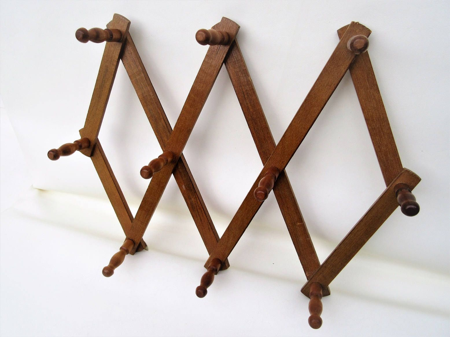 Vintage Accordion Peg Rack | Wooden Wall Rack | Expandable Wall Organizer |  Folding Hat Coat Rack | Wooden Walls, Wall Racks And Coat Racks