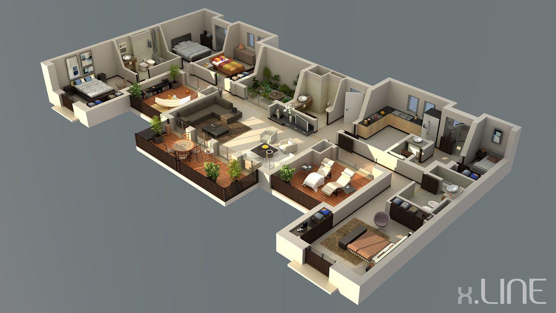 Renderig Floor Plan 02 X Line 3d Visualization 3d House Plans My House Plans House Plans