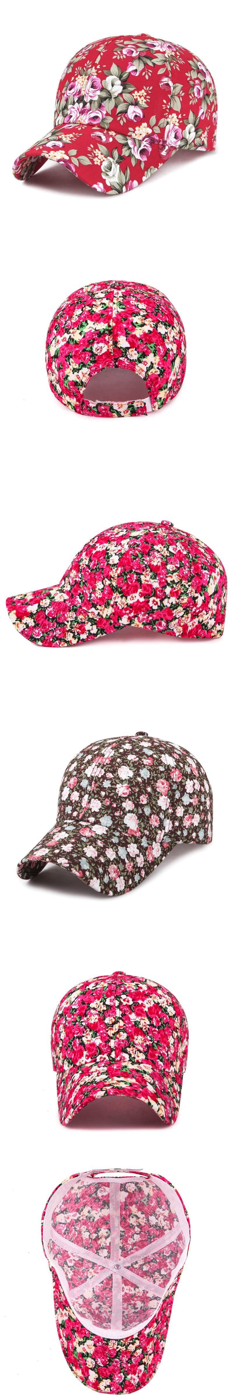 4897378ea3d63 2017 Samll Floral Baseball Cap For Women Summer Beach Fashion Flower Sun hat  Breathe Freely Mesh