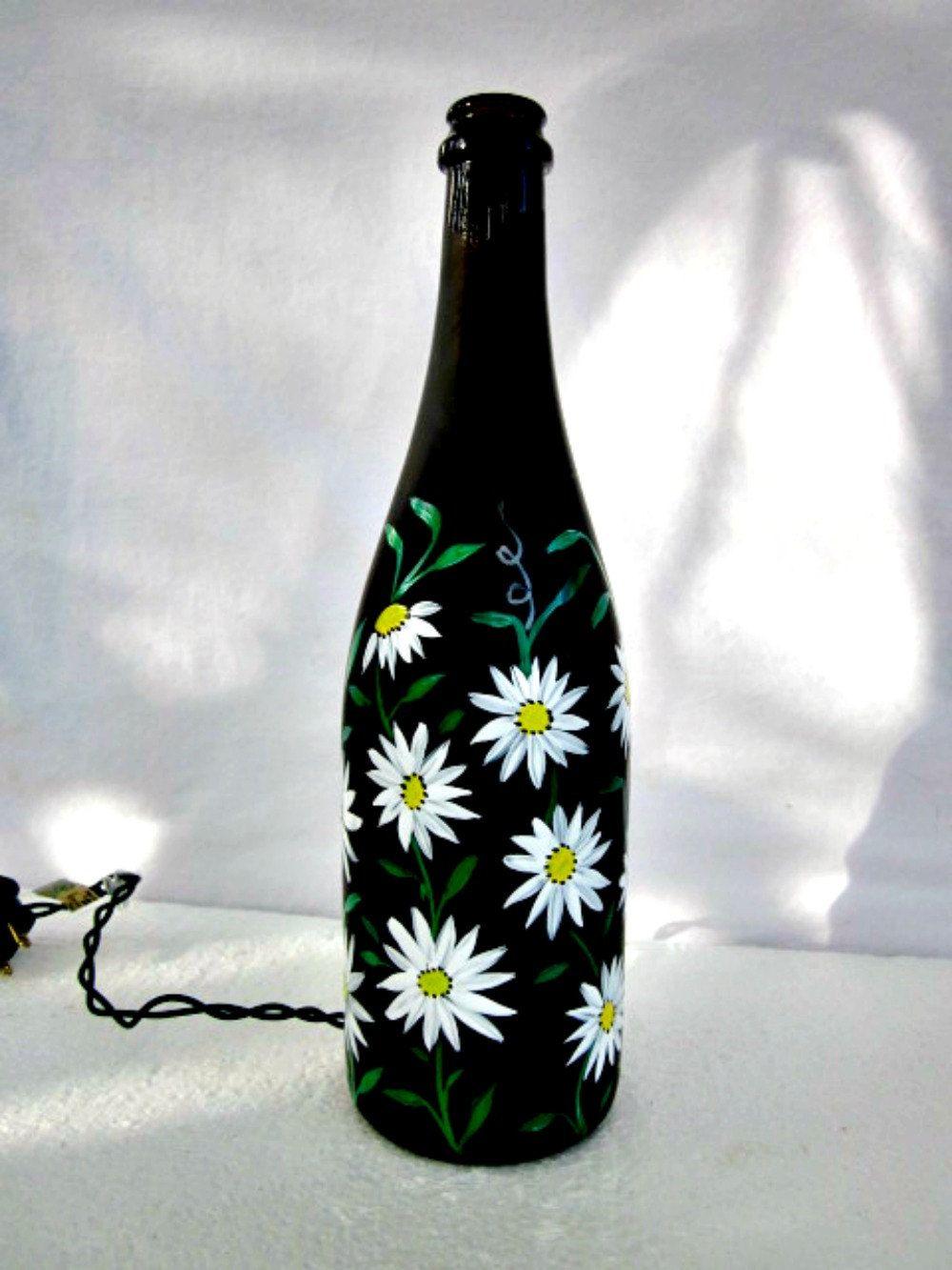 Wine Bottle Light Night Light Recycled Black