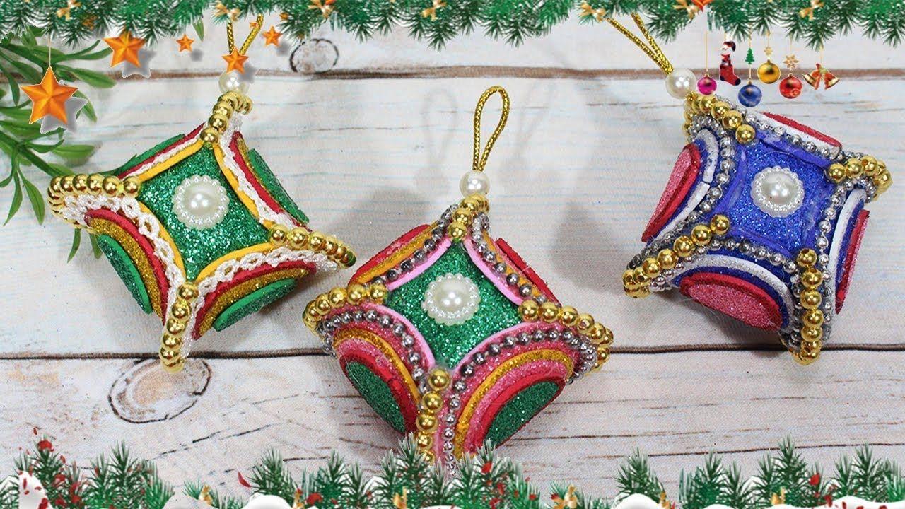 Diy christmas ornaments 2018 Craft with glitter foam